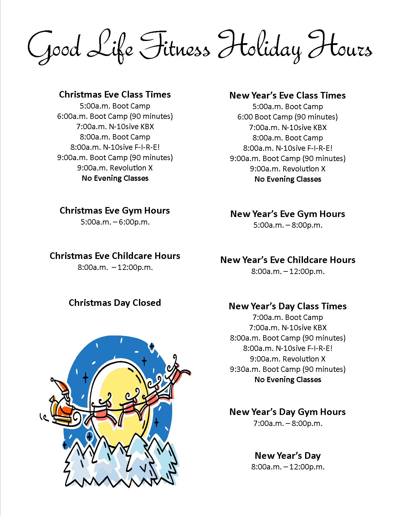Good Life Fitness Holiday Schedule